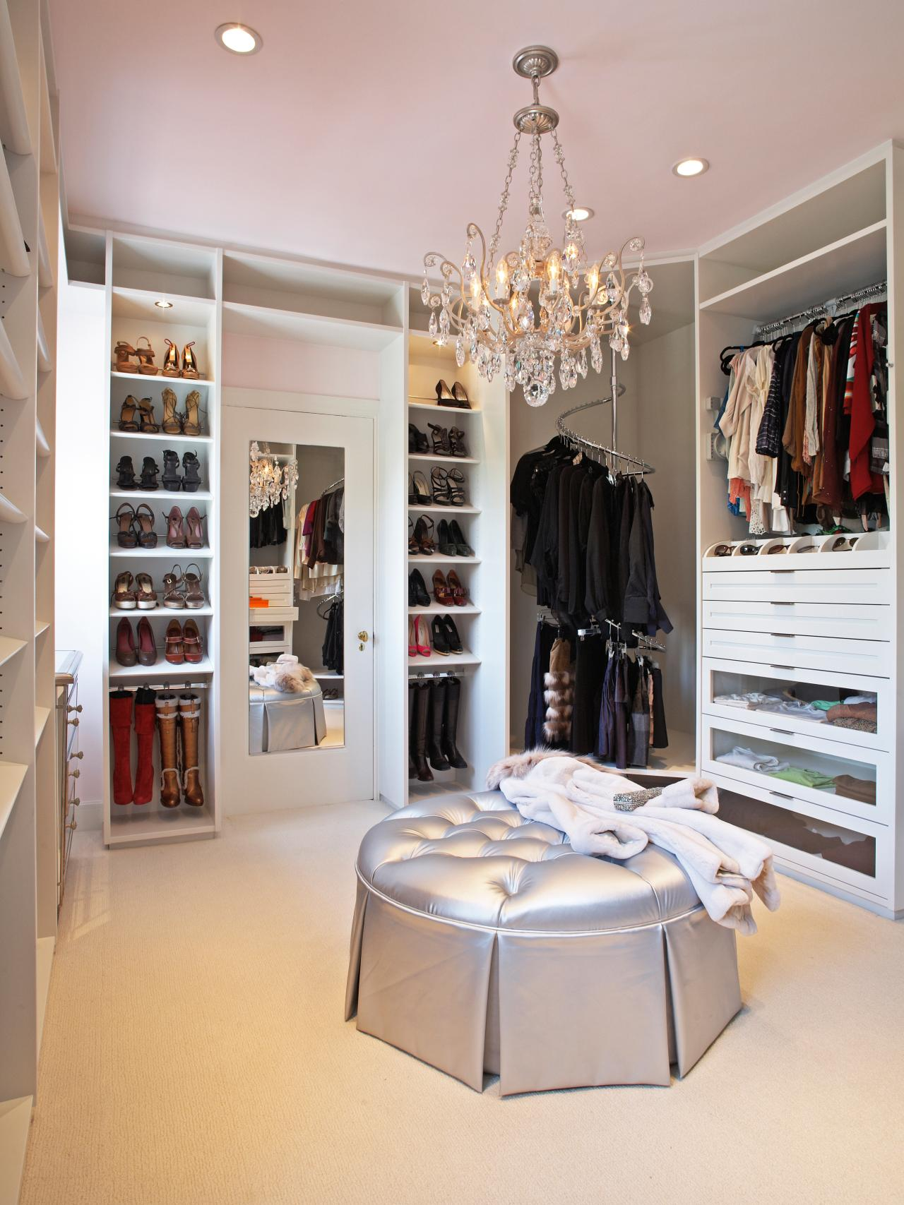 Walk-in closet with mirror
