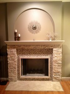 fascinating fireplace with mosaic tiles