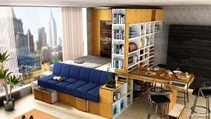 Modern studio apartment dining area