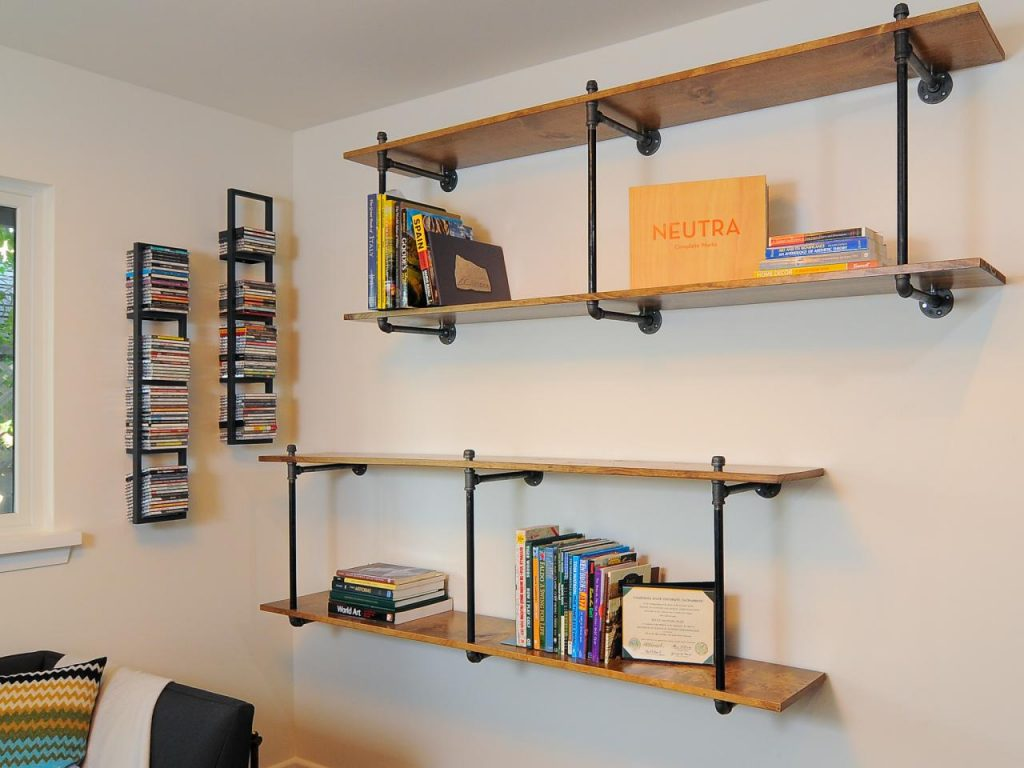 Neutral wood wall shelves