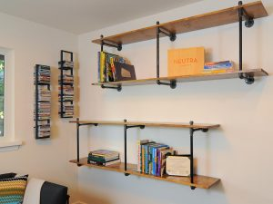 Neutral wood wall shelves
