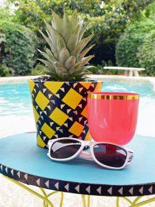 original yellow flower pot