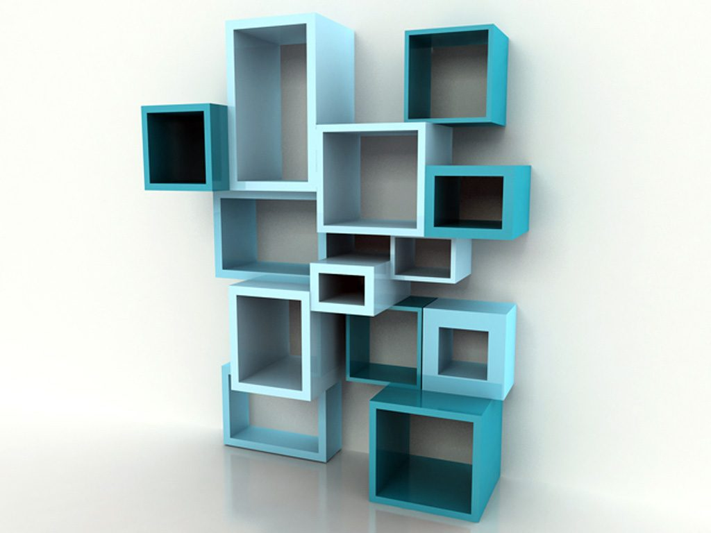 Blue cube shelving