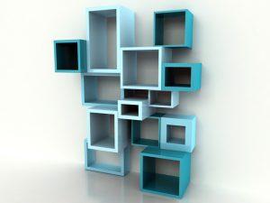 Blue cube shelving