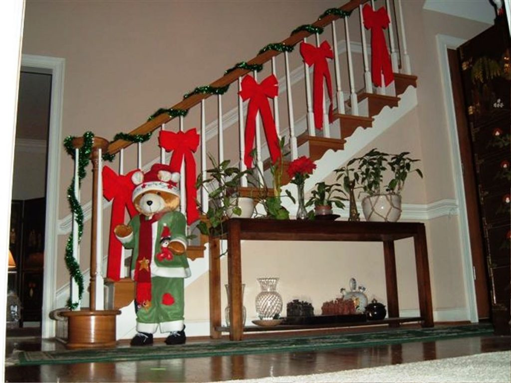 Christmas bows on stairs
