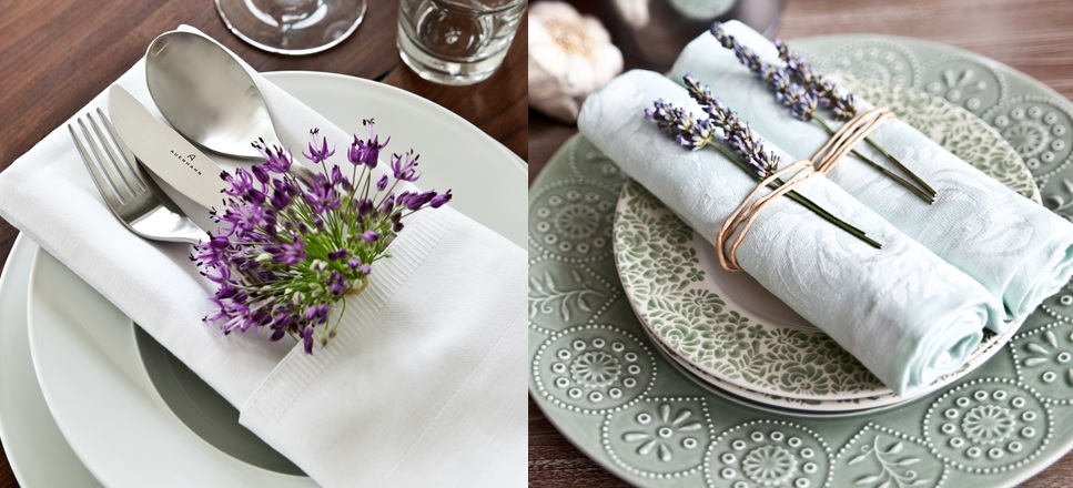 Decorating tableware with lavander