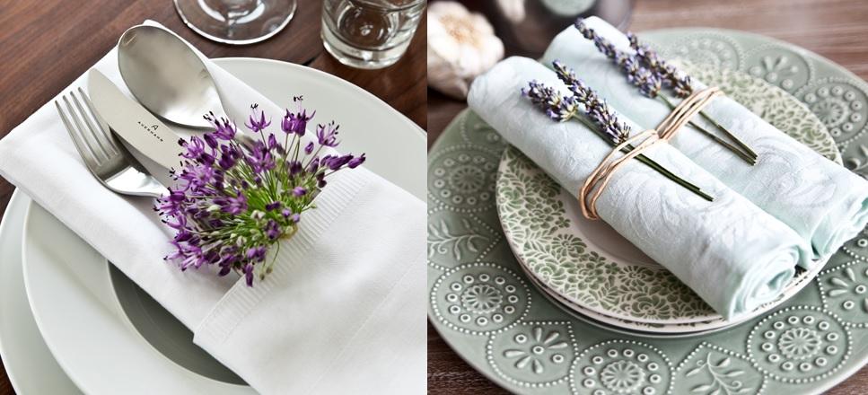 Decorating tableware with lavander
