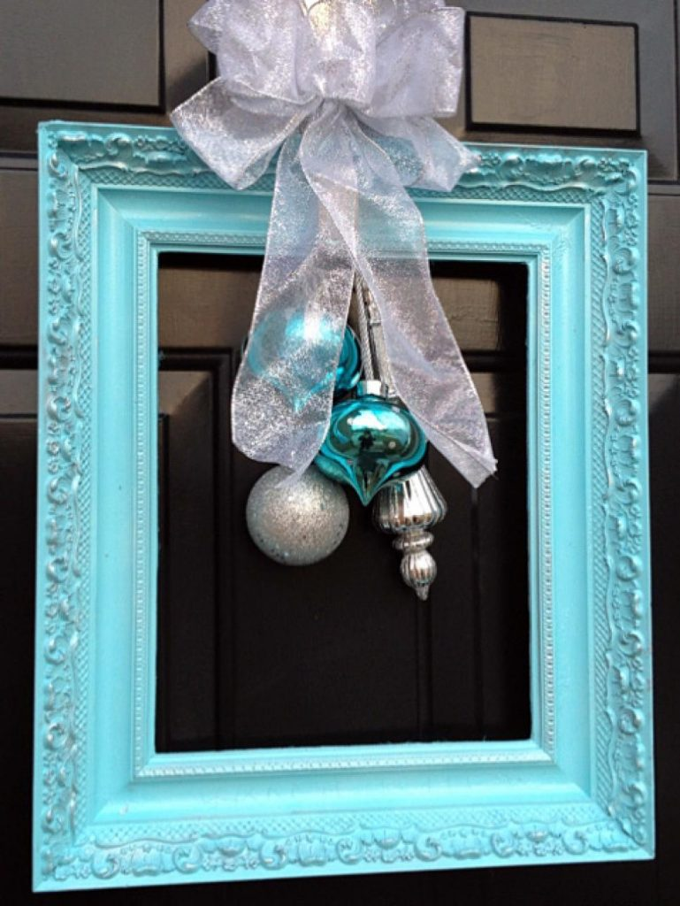 frame with bow and ornaments