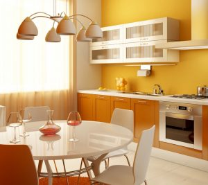 orange-smal-kitchen-with-dining-table