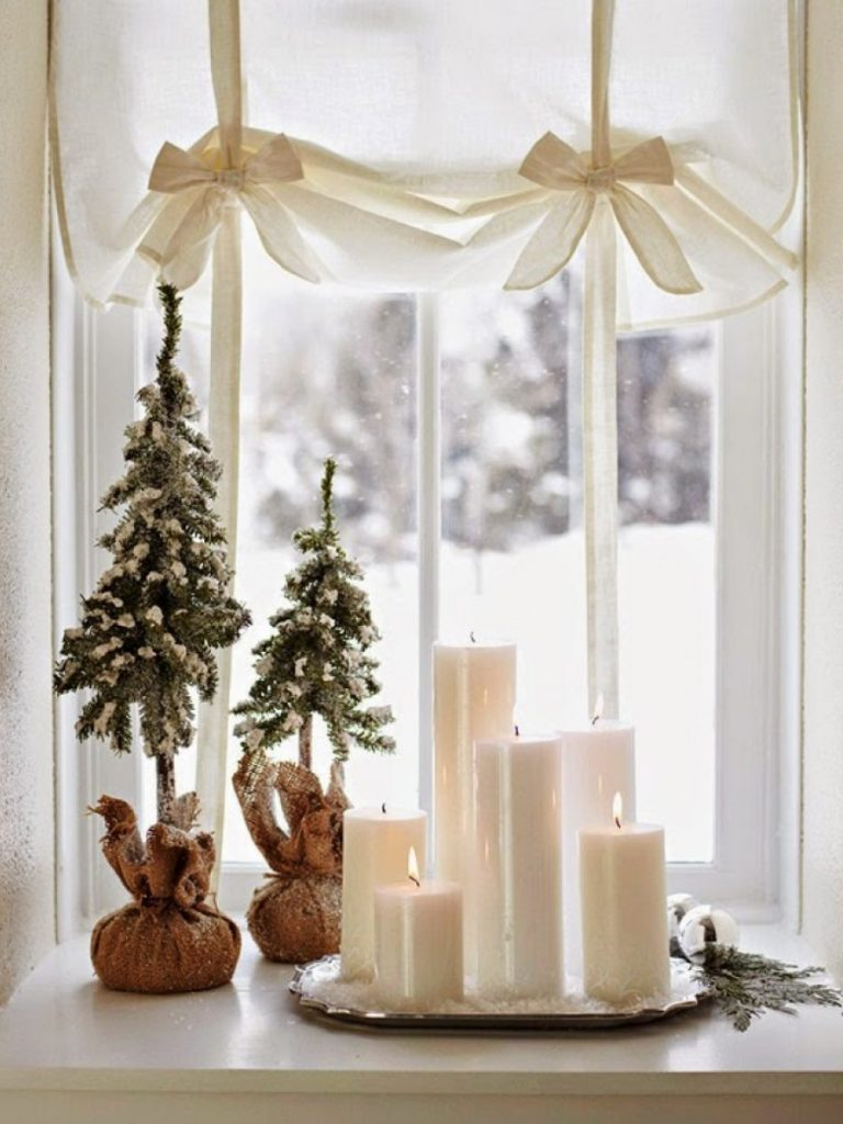 candles on window
