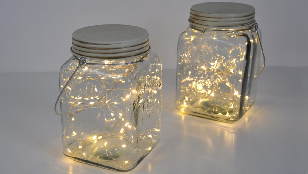 jar with lights