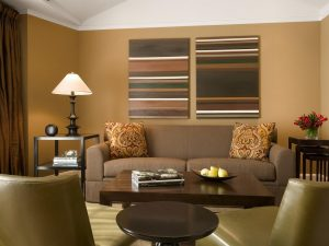 Living room in dark colors and with bright details