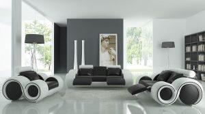 Modern black and white livingroom