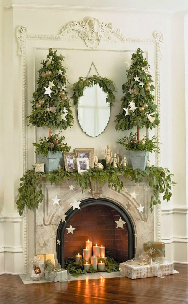 amazing Christmas fireplace mantel
