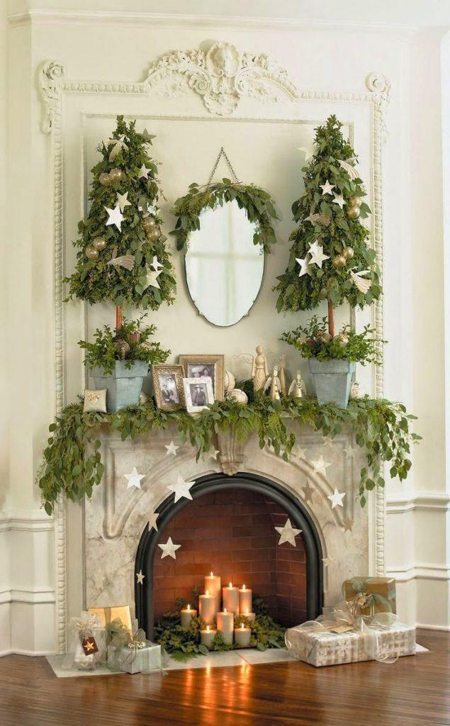 amazing Christmas fireplace mantel