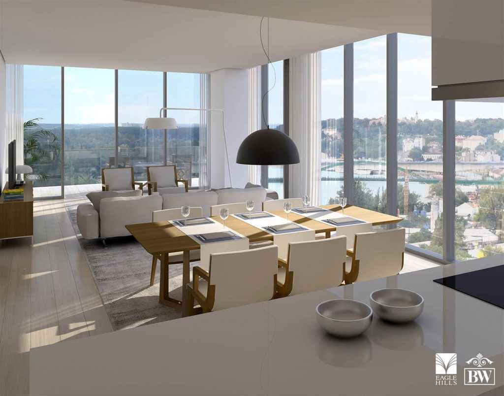 Open concept kitchen with view on dining room