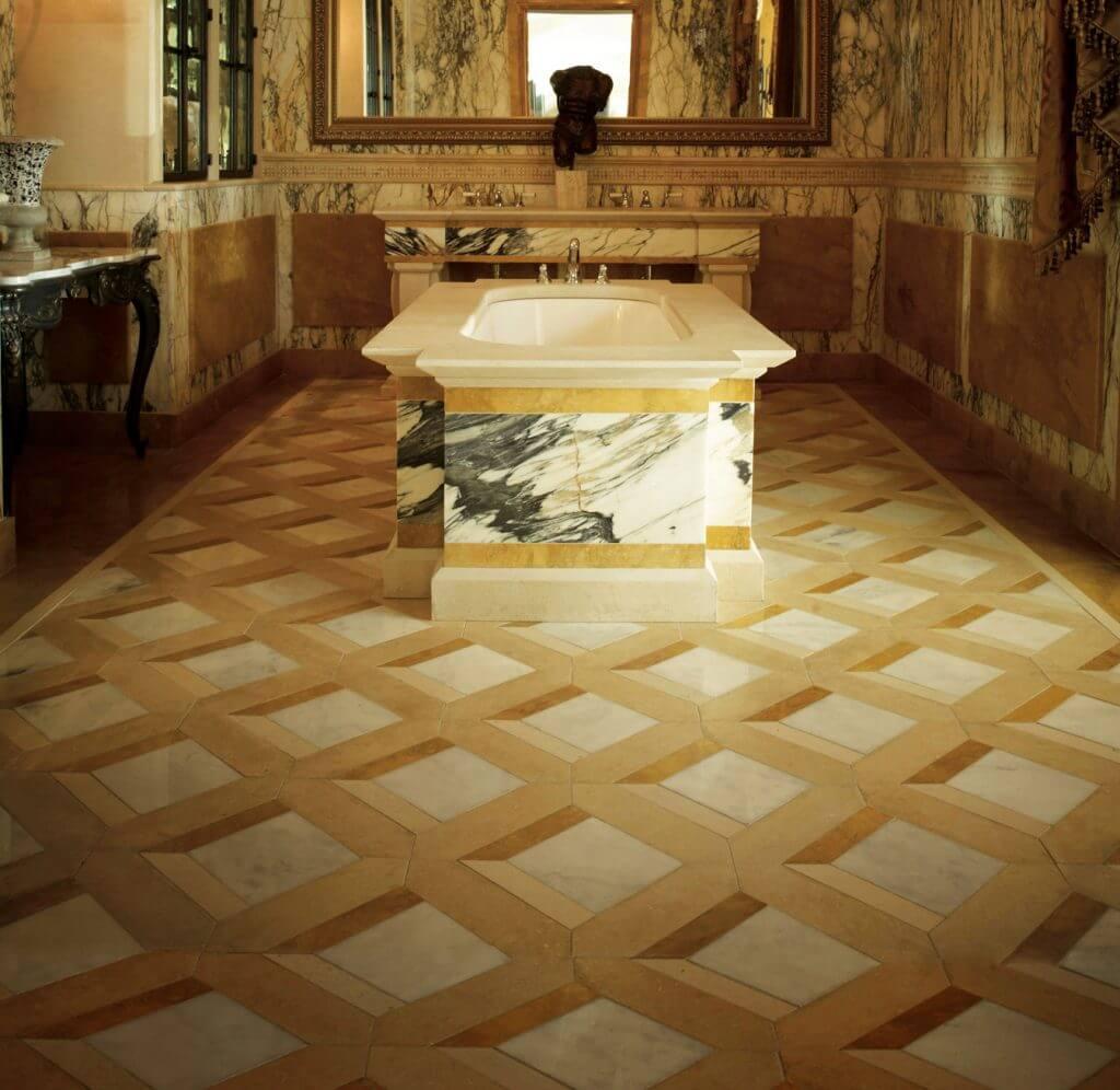 Amazing granite tile flooring in bathroom