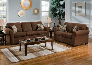 Dark wood floor in modern living room