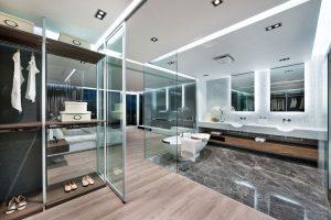 Modern bedroom and bathroom in converted garage