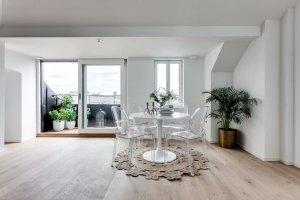 Dining room in attic apartment