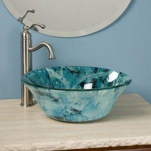 Awesome blue bathroom vessel sink