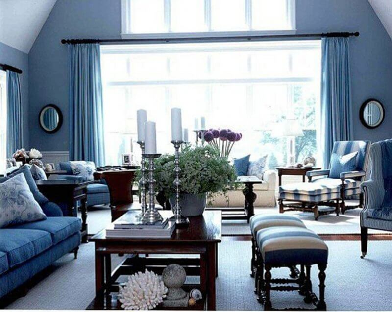 Blue accent wall in living room | New Home ideas | Living ...