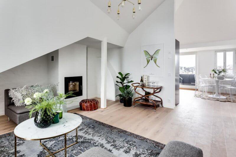 Elegant fireplace in living room