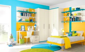Kids room with yellow and green color details