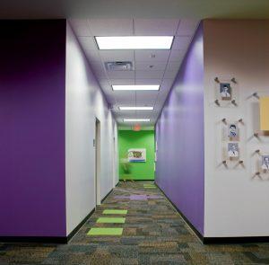 Purple and green corridor