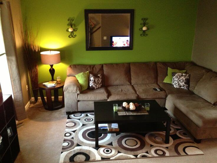 Chocolate and green living room