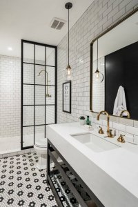 Black and white indystrial style bathroom