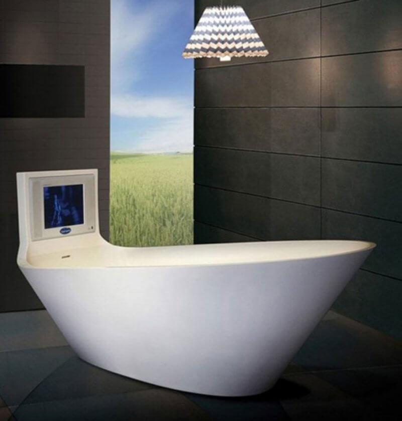 Extraordinary Bathtub With TV