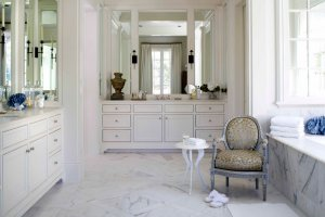 Modern bathroom with vintage chair