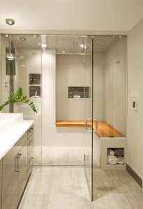 Built in shower with teak seat