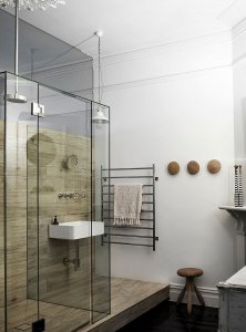 Indystrial style glass shower area