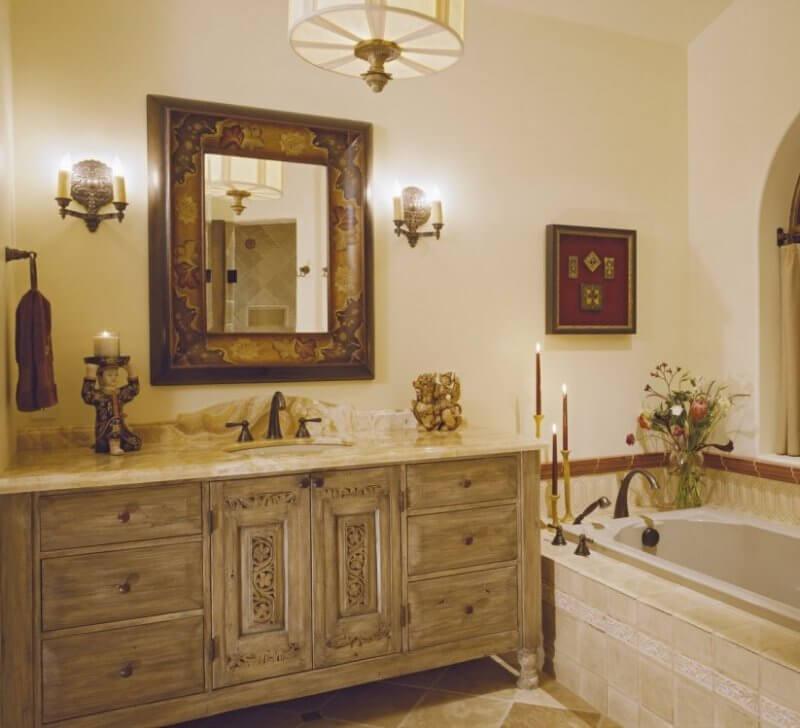 modern bathroom with vintage details