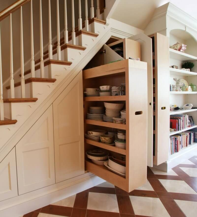 Dishes under stairs
