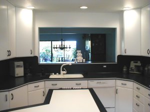 Kitchen island and dining room