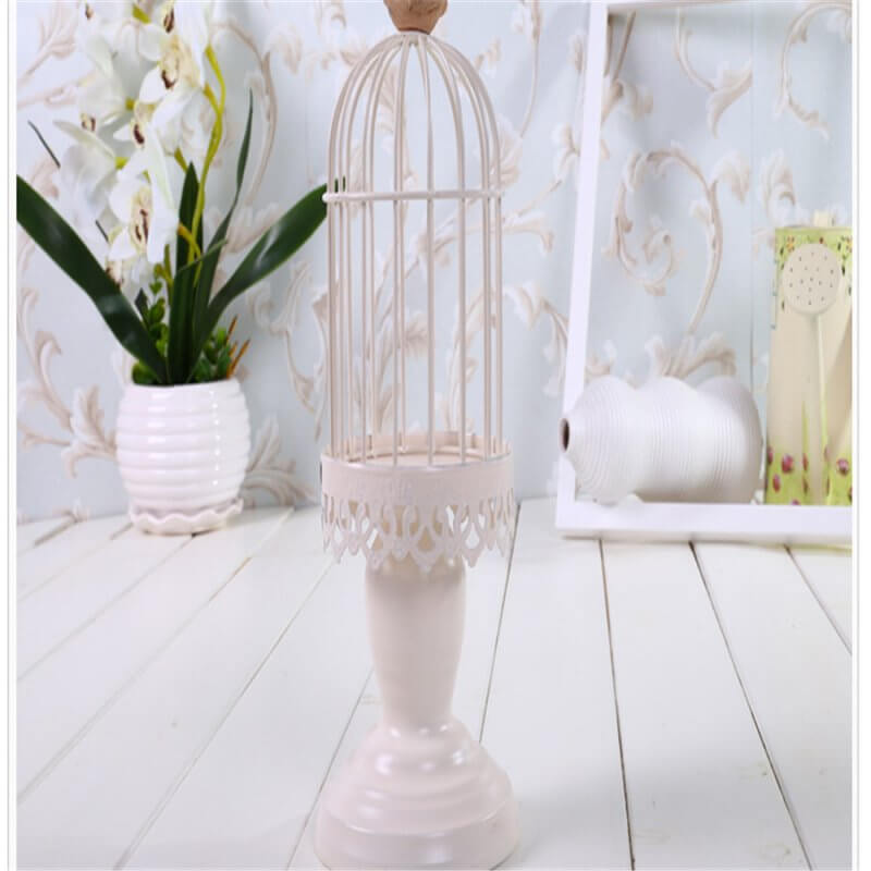 Shabby chic white candlestick