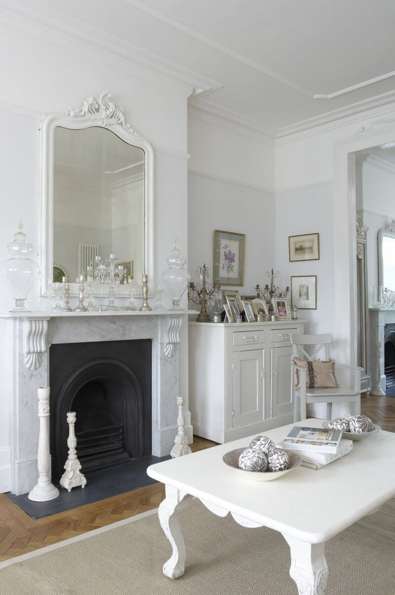 Shabby chic white wall living room