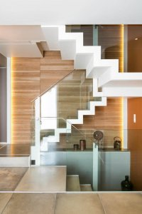 Staircase bordered with glass