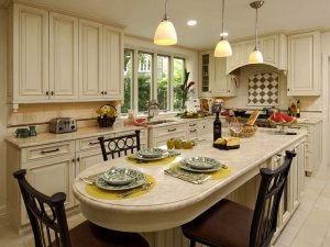 Kitchen island and dinning area