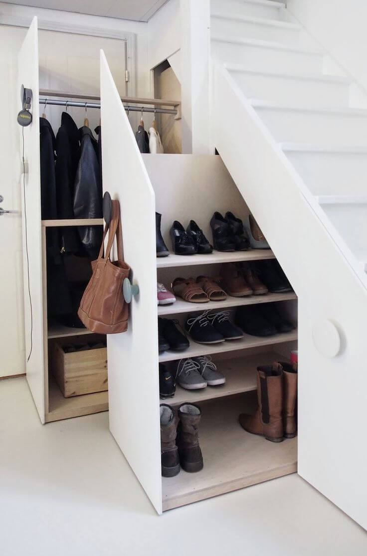 Shoe cabinet under stairs