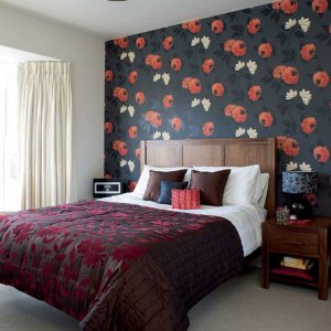 Amazing flower wallpaper with headboard bed