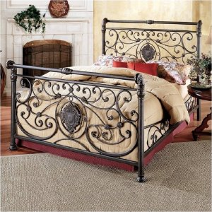 Iron bed with headboard