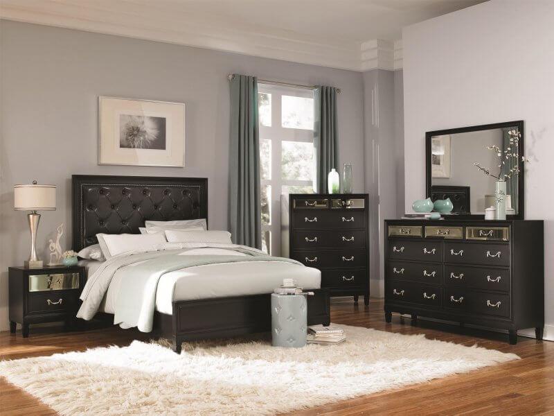 Modern bedroom with padded headboard