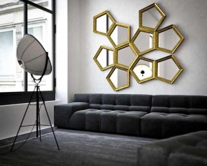 Shape of mirror on the living room wall