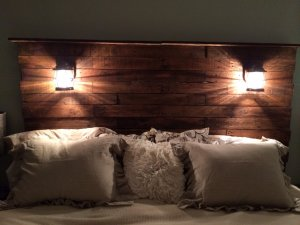 Wooden headboard with lights