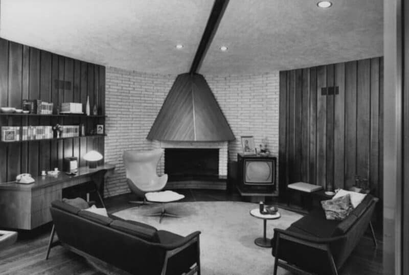 Mid century living room with a TV