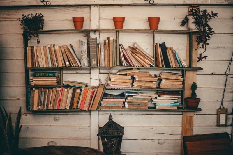 A rustic wooden shelf